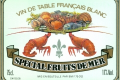 Wine, Special Fruit de Mer, Vin de Table Francais Blanc