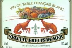 Wine, Special Fruit de Mer, Vin de Table Francais Blanc